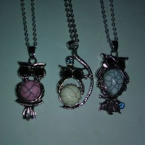 Lot of 3 Owl Necklaces with Chain